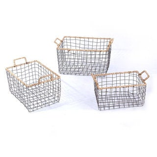 Adeco Multi-Purpose Rectangular Iron Wire Baskets (Set of 3)