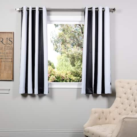 "Exclusive Fabrics Awning Black & Fog White 63"" GR Blkt Curtain Pair - 50 x 63"