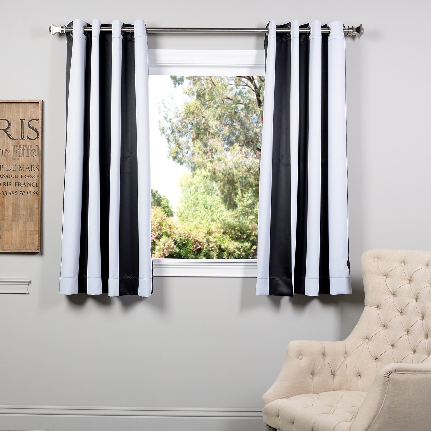 Exclusive Fabrics Awning Black/ White Stripe 63-inch Blac...