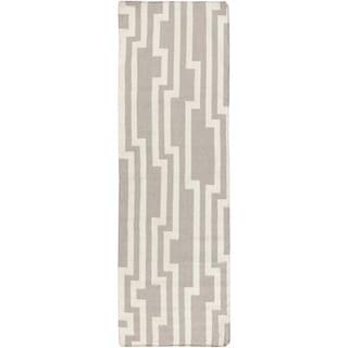 Hand-Woven Ronnie Geometric Wool Rug (2'6 x 8')