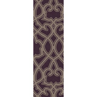 Hand-Woven Aliana Damask Wool Rug (2'6 x 8')