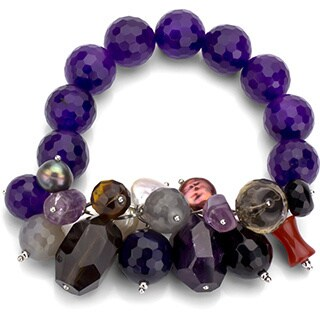DaVonna Purple Amethyst and Multi-colored Gemstone Stretch Bracelet