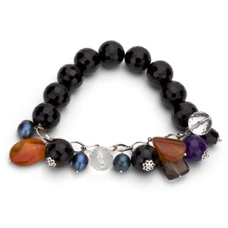 DaVonna Black Onyx and Multi-colored Gemstone Stretch Bracelet