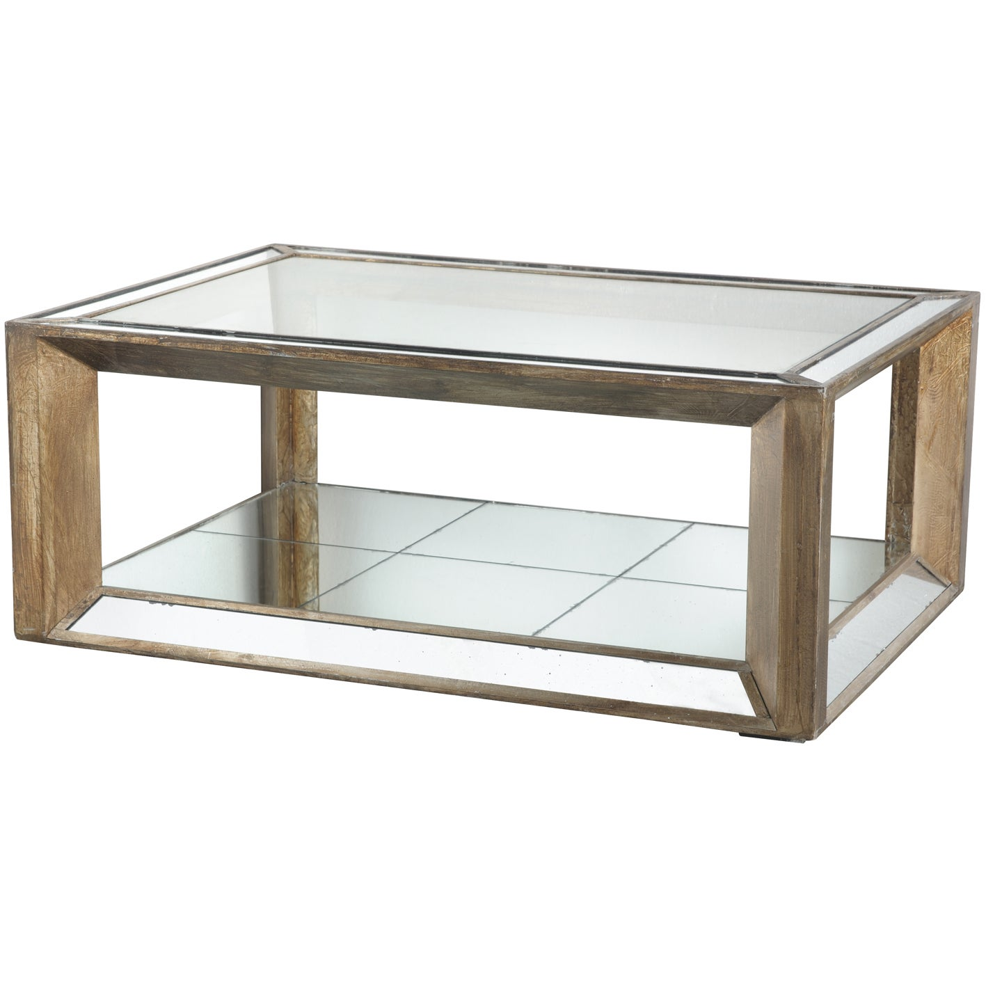 Picture of: Julia Wood Glass Mirrored Coffee Table Overstock 9804191