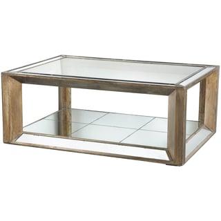 Julia Wood/ Glass Mirrored Coffee Table