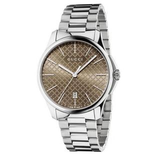 Gucci Men's YA126317 Quartz G-Timeless Brown Dial Stainless Steel Watch - silver