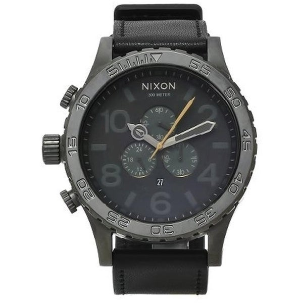 Nixon Men's A124680-00 Black Leather 51-30 Chrono Dark Gray Dial Watch