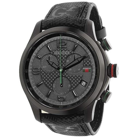 Gucci Men's Quartz G-Timeless Chronograph Black Leather Watch