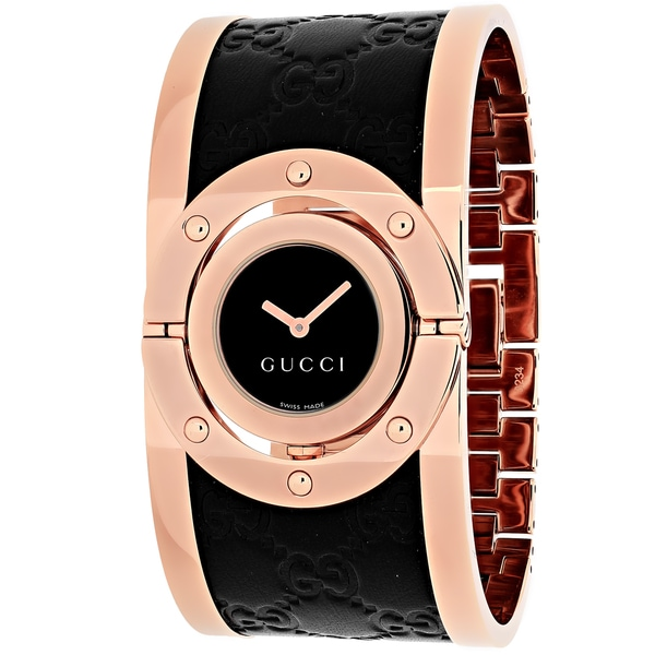 1bf186d8391 Gucci Women  x27 s Quartz Twirl Rose Goldtone Guccissima Leather Watch