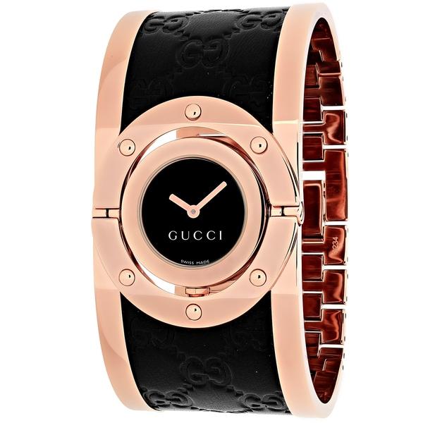 8b23b537d98 Gucci Women  x27 s Quartz Twirl Rose Goldtone Guccissima Leather Watch