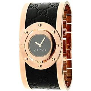 Gucci Women's YA112438 Quartz Twirl Rose Goldtone Guccissima Leather Watch