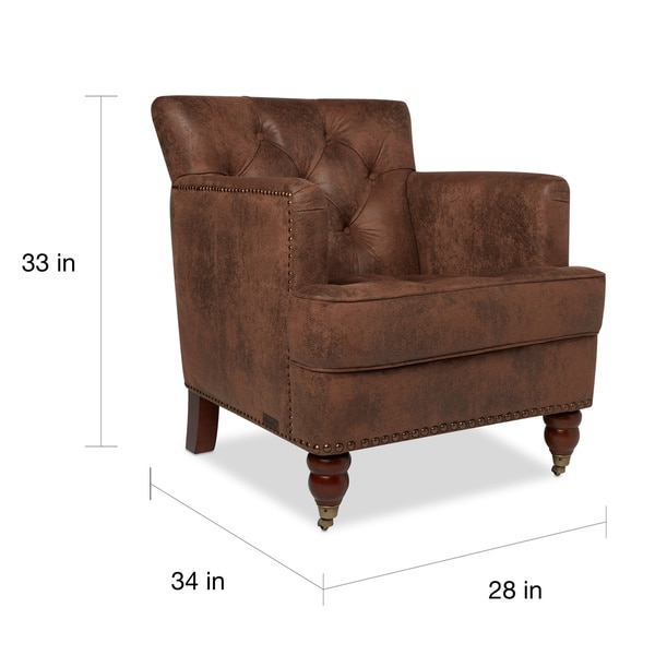 Perfect Abbyson Tafton Antique Brown Fabric Club Chair   Free Shipping Today    Overstock.com   16971465
