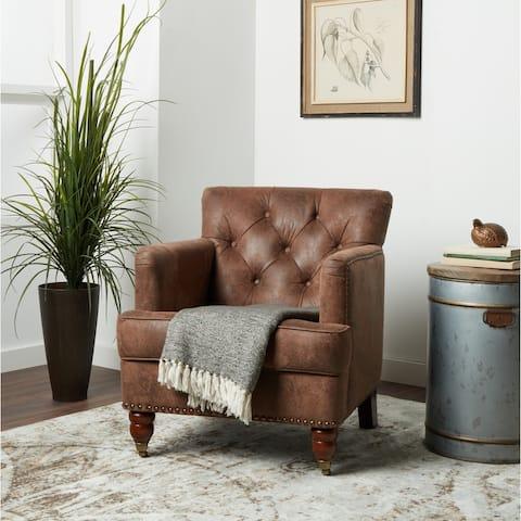 Abbyson Tafton Antique Brown Fabric Tufted Club Chair