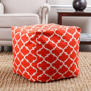 ABBYSON LIVING Milana Moroccan Red Lattice 21-inch Square Pouf