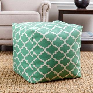 ABBYSON LIVING Milana Moroccan Green Lattice 21-inch Square Pouf