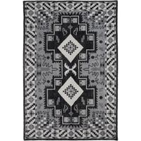 Hand-Knotted Lester Border Wool Area Rug (5'6 x 8'6)