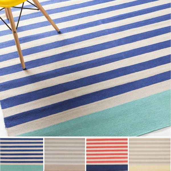 Hand-Woven Paulina Stripe Pattern Cotton Area Rug