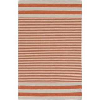 Hand-Woven Pauline Stripe Pattern Cotton Rug (8' x 11')