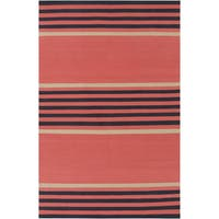 Hand-Woven Patrick Stripe Pattern Cotton Area Rug