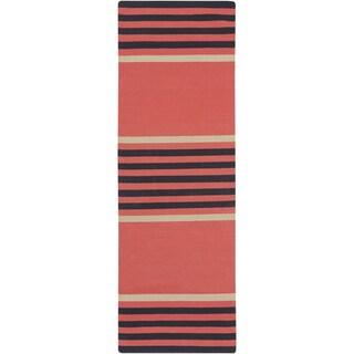 Hand-Woven Patrick Stripe Pattern Cotton Rug (2'6 x 8')