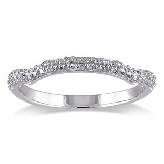 Miadora Sterling Silver Diamond Accent Stackable Anniversary-style Wedding Band Ring