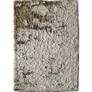 Silky Shag 31SL Ivory Solid Area Rug (7' x 9')