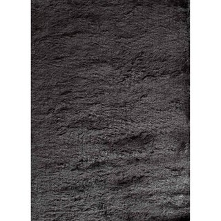 Silky Shag Black Solid Area Rug - 7' x 9'
