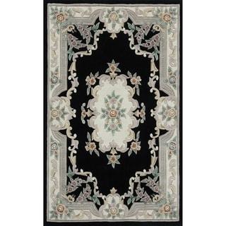 Heritage N723-15 Black Floral Area Rug (8' x 11')
