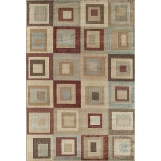 Bowery 8014 Red Geometric Area Rug (8' x 11')