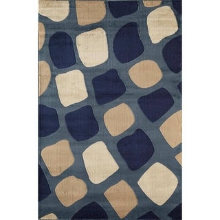 Bowery 3414 Blue Geometric Area Rug (8' x 11')