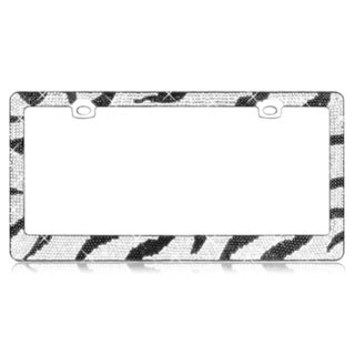 INSTEN Zebra Pattern with Diamond Crystals Chrome Metal 6x12-inch Autombile License Plates Frame