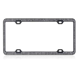INSTEN White Crystals/ Black Metal 6x12-inch Autombile License Plates Frame with Double Row Crystals
