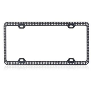 INSTEN White Crystals/ Black Metal 6x12-inch Autombile License Plates Frame with Double Row Crystals|https://ak1.ostkcdn.com/images/products/9807415/P16974016.jpg?impolicy=medium