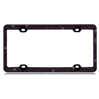INSTEN Purple Crystals/ Black Metal 6x12-inch Autombile License Plates Frame with Triple Row Crystals