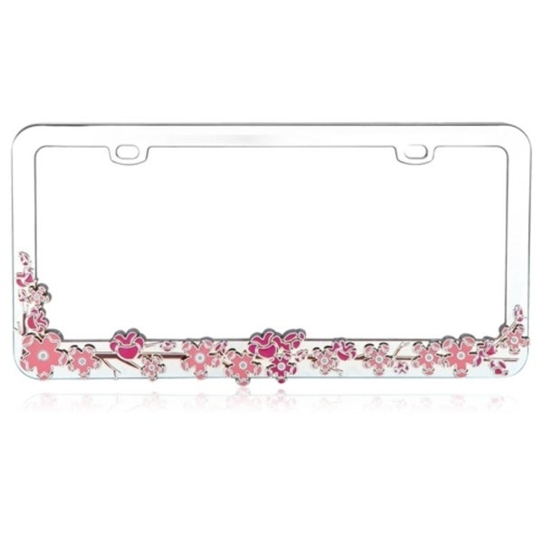 Shop INSTEN Pink Cherry Blossom Tree Metal 6x12-inch Autombile ...