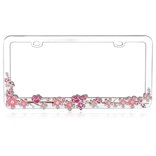 INSTEN Pink Cherry Blossom Tree Metal 6x12-inch Autombile License ...