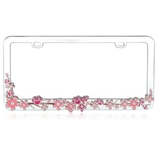 INSTEN Pink Cherry Blossom Tree Metal 6x12-inch Autombile License Plates Frame
