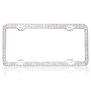 INSTEN Pink Crystals Chrome Coating Metal 6x12-inch Autombile License Plates Frame With Triple Row Crystals