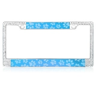 INSTEN Blue Paw Design Metal License Plate 6x12-inch Autombile License Plates Frames with Double Row Shining White Crystals