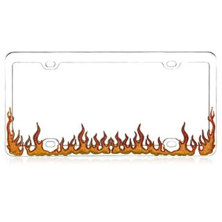 INSTEN Colorful Enamel Chrome Coating/ Orange Flame Metal 6x12-inch Autombile License Plates Frame