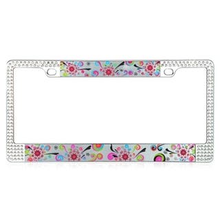 INSTEN Elegant floral Design Metal License Plate Autombile License Plates Frames with Double Row Shining White Crystals|https://ak1.ostkcdn.com/images/products/9807433/P16974032.jpg?impolicy=medium