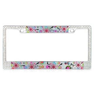INSTEN Elegant floral Design Metal License Plate Autombile License Plates Frames with Double Row Shining White Crystals