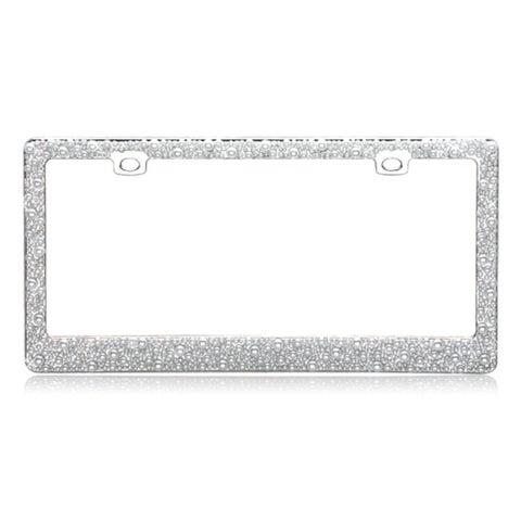 """INSTEN Pearls Chrome Metal 6x12-inch Autombile License Plates Frame - multi - 6""""h x 12""""l"""