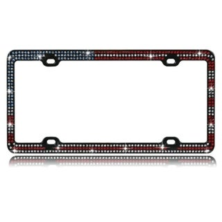 INSTEN Red/ White/ Blue Crystals Metal 6x12-inch Autombile License Plates Frame with Triple Row Crystals