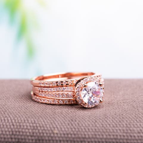 Miadora Rose Gold over Silver Cubic Zirconia Bridal Ring Set
