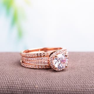 Miadora Rose Gold over Silver Cubic Zirconia Bridal Ring Set|https://ak1.ostkcdn.com/images/products/9807477/P16974072.jpg?impolicy=medium