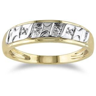 Miadora 10k Yellow Gold Diamond Illusion Men's Ring