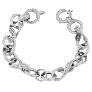 Argento Italia Sterling Silver Round and Twisted Links Bracelet