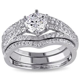 Miadora Sterling Silver Cubic Zirconia 3-piece Bridal Ring Set