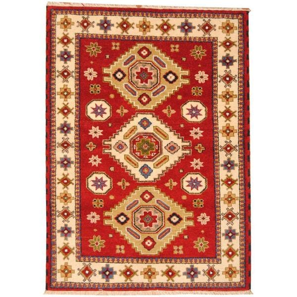 Handmade Herat Oriental Indo Tribal Kazak Wool Rug (India) - 4'10 x 6'7